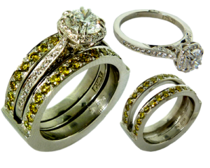 Sleeve fit platinum band with irradiated yellow diamonds