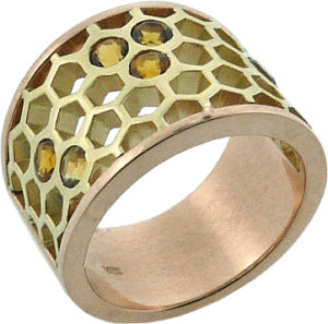 Matching Yellow and Rose Gold Honeycomb rings with Citrines