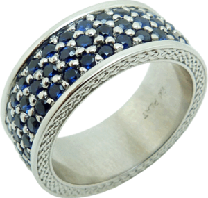 Mens Platinum and Sapphire Band
