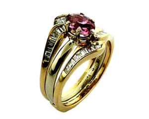 Pink padparadscha sapphire and baguette diamonds ring