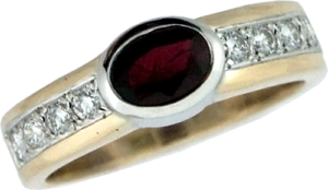 Redesigned lady's gold, diamond, and ruby ring