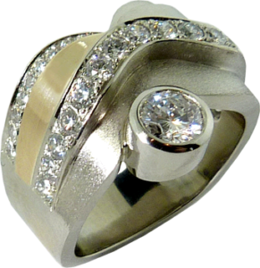 Redesigned engagement ring with white and yellow gold bezel set Hearts On Fire® Diamond