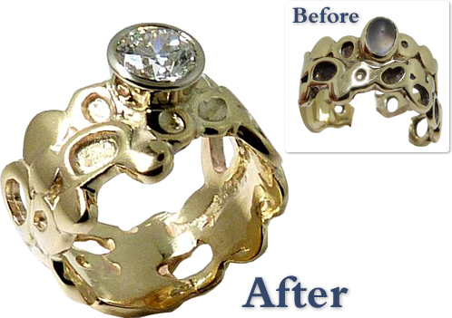Repaired Ring Reset With A Diamond