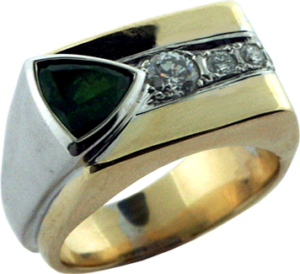 Redesigned gentlemens gold ring with diamonds and green garnet