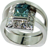 Treated Blue Princess Cut Diamond with Ring White Diamonds Halo