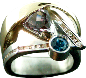 Purple Tourmaline, London Blue Topaz and Diamonds Ring