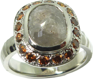 Rose Cut Oval Diamond Ring with natural Orange-brown diamonds