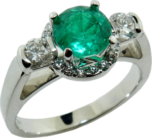 Unique Halo Diamond Emerald Engagement Ring