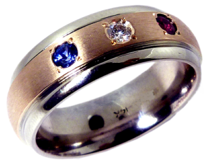 Men's 14K white gold with red white and blue gemstones