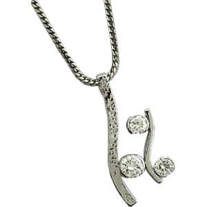 Contemporary Diamond and white gold pendant