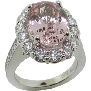 Morganite Halo Platinum Ring