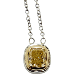 Yellow Diamond Two Colour Gold Pendant