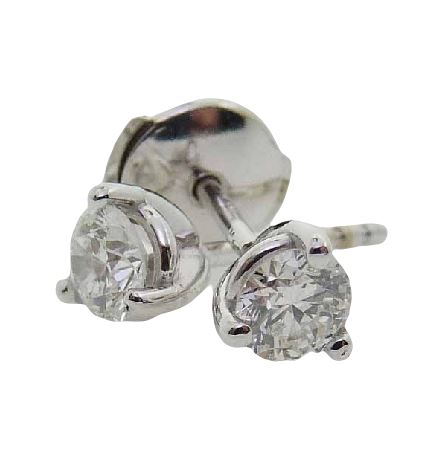 Set in 14 karat white gold, these 3 prong diamond earring studs have locking backs so you'll never lose your special purchase!