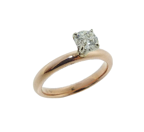 14 karat rose and white gold solitaire engagement ring featuring a 0.462ct H, VS2 round brilliant cut diamond by Hearts on Fire.