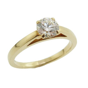 18K yellow gold Simply Bridal solitaire engagement ring set with a 0.72ct, Ideal cut, J, VVS2, Hearts on Fire center round brilliant cut diamond.