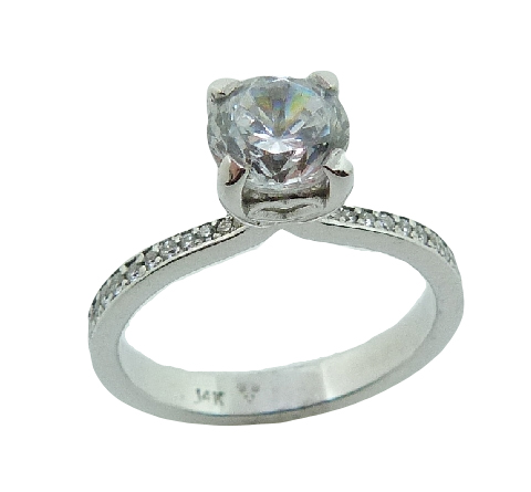14 karat white solitaire engagement ring accented by 28 = 0.165ctw excellent cut F/G, VS2/SI1 round brilliant cut diamonds. This unique ring is a stunning alternative to a traditional solitaire. Priced without a center gemstone. Let us find you the perfect center that fits your tastes and budget!