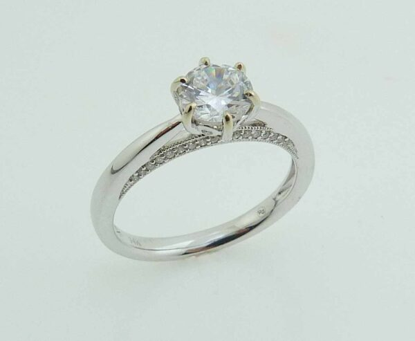 14 karat white gold vintage six prong solitaire engagement ring featuring 40 = 0.11ctw round brilliant cut diamonds. This ring has milgrain details to accentuate the vintage style. Priced without a center gemstone. Let us find you the perfect center that fits your tastes and budget!