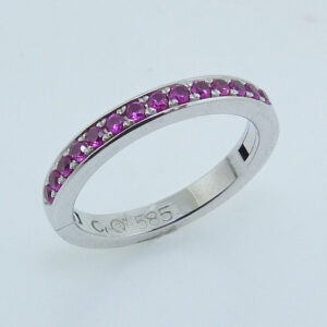 14K White gold ring, pave set with Mardi Gras pink sapphires, totaling 0.35 carats.  Cliq rings are equipped with a custom hinge and locking mechanism to allow you to have a ring that fits perfectly! Great for those who suffer from arthritis or who have had injuries to their fingers.