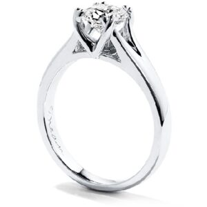 18K White gold Seduction Dream Solitaire Hearts On Fire engagement ring set with an ideal cut, Dream cut diamond by Hearts On Fire 0.518 carat, F, SI1.