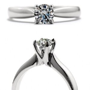 18 karat white gold 'Serenity' solitaire engagement ring featuring a 0.725ct, J, VS2 round brilliant cut diamond by Hearts on Fire.