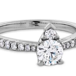 """18K white gold diamond engagement ring, known as """"Destiny Teardrop Shape"""" by Hearts On Fire. Discontinued Style Claw-set with one 0.705 carat, I, VS1 ideal, round brilliant cut diamond by Hearts On Fire and accented with G/H, VS-SI ideal round brilliant cut diamonds by Hearts On Fire, totaling 0.285 carats."""