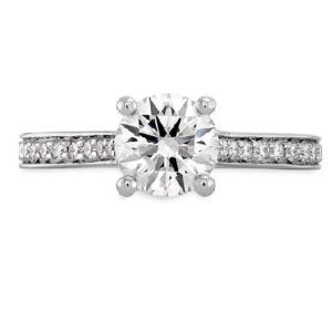 18 karat white gold Enticement engagement ring set with a 0.717ct G, SI1 round brilliant cut diamond by Hearts on Fire accented by 0.23ctw G/H, VS/SI round brilliant cut diamonds.