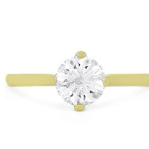 Deco Chic solitaire engagement ring by Hearts on Fire is available in 18 karat yellow and white gold as well as platinum.
