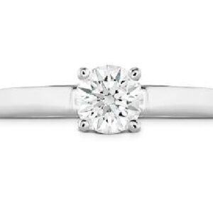 Simply Bridal solitaire engagement ring by Hearts on Fire is available in 18 karat yellow and white gold as well as platinum.