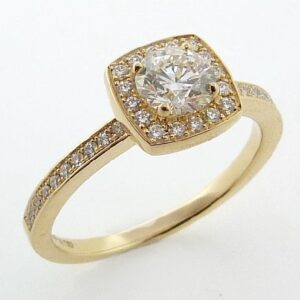 Euphoria Halo Engagement Ring by Hearts on Fire in yellow gold