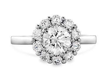 Beloved Open Gallery Halo Engagement Ring by Hearts on Fire head on view