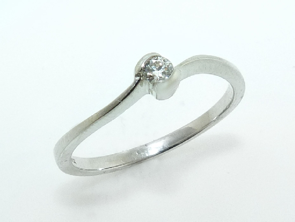 14K White gold promise ring bezel set with one 0.075 carat, SI, G/H, ideal cut, round brilliant cut diamond by Hearts On Fire.