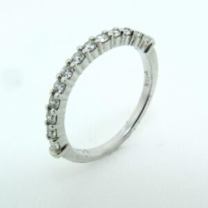 18K White gold wedding band claw set with ideal cut, round brilliant cut diamonds by Hearts On Fire, 0.30 carat total weight, G/H, SI1-VS2.