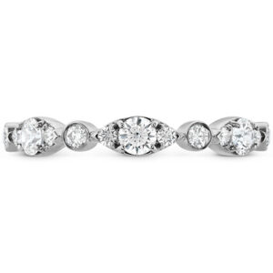 18 karat white gold Bezel Regal diamond band featuring round brilliant cut diamonds by Hearts On Fire, 0.45 carat total weight, I/J, VS-SI.