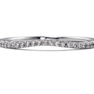 18 karat white gold Felicity curved wedding band set with a 0.15ct G/H, VS1/SI1 round brilliant cut diamonds by Hearts on Fire. This style is now discontinued.