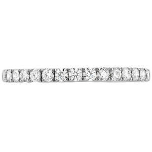 Platinum 'Destiny' wedding band set with ideal cut, round brilliant cut diamonds by Hearts On Fire, 0.32 carat total weight G/H, VS-SI.