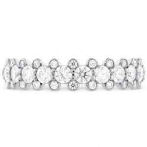 18 karat white gold Gracious Bezel diamond band featuring round brilliant cut diamonds by Hearts On Fire, 1.05 carat total weight, G/H, VS-SI.