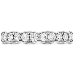 18 karat white gold large Lorelei Floral diamond band featuring round brilliant cut diamonds by Hearts On Fire, 0.689 carat total weight, G/H, VS-SI.