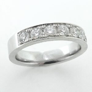18 karat white gold diamond band featuring round brilliant cut diamonds by Hearts On Fire, 7 = 0.741 carat total weight, G/H, VS-SI.