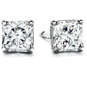 18K white gold Hearts on Fire diamond stud earrings set with 0.36 cttw, H, SI1-2 Dream cut Hearts On Fire diamonds.