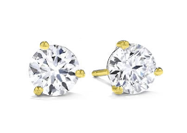 18K Yellow gold Three prong stud earrings set with 2 Hearts On Fire diamonds, 0.38 - 0.44cttw, I/J, VS-SI.
