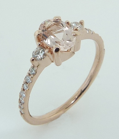 14K Rose Gold Oval Shaped Morganite And Diamond 3-Stone Ring
