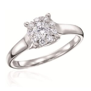 14 karat bouquet style engagement ring featuring 0.36ctw G/H, SI, round brilliant cut diamonds.