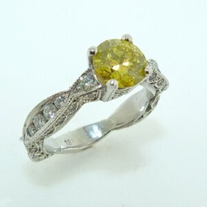 18K White Gold Yellow Diamond Solitaire Custom Ring