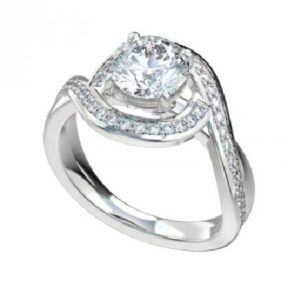 14 karat white bypass halo engagement ring accented by 56 = 0.33ctw G/H, VS/SI round brilliant cut diamonds.