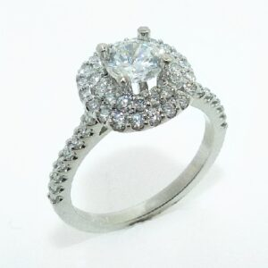 14 karat white double cushion halo engagement ring accented by 52 = 0.56ctw round brilliant cut diamonds
