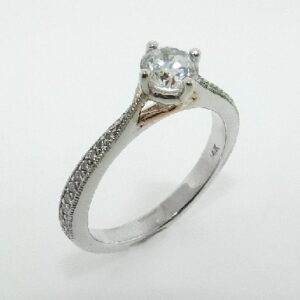 14 karat white and rose compass design solitaire engagement ring featuring 20 = 0.14ctw G/H, SI round brilliant cut diamonds