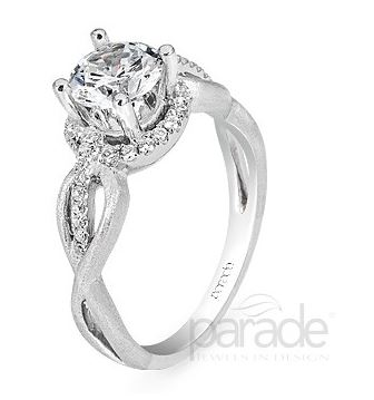 18K White Gold Engagement Halo Ring by Parade
