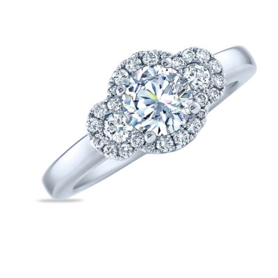 14K White gold three stone diamond halo engagement ring by Frederic Sage claw set in the centre with a round 0.75ct CZ center and accented on the sides and halo with 26 claw set round brilliant cut diamonds totaling 0.32cttw. Available in 14K gold, 18K gold, or platinum. This ring can be made in any combination of white, pink or yellow gold and can be customized to accommodate different size and shape diamonds, by special order. Priced without a center gemstone. Let us find you the perfect center that fits your tastes and budget!