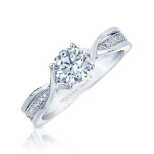 14K White gold split band engagement ring by Frederic Sage claw set with a 0.75ct round CZ and pave set on the band with 24 round brilliant cut diamonds, 0.09cttw, G/H, VS-SI. Available in 14K gold, 18K gold, or platinum. This ring can be made in any combination of white, pink or yellow gold and can be customized to accommodate different size and shape diamonds, by special order. Priced without a center gemstone. Let us find you the perfect center that fits your tastes and budget!