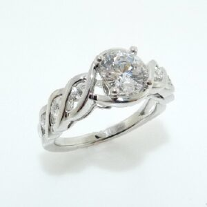 14K white gold engagement ring set with: - 1ct CZ center - 6=0.17cttw